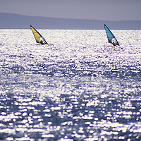 Hawaii, Maui, The Valley Island, windsurfers at Makena