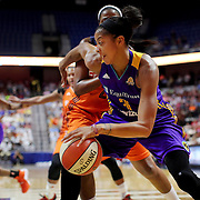 UNCASVILLE, CONNECTICUT- JULY 15:  Candace Parker #3 of the Los Angeles Sparks drives past Camille Little #2 of the Connecticut Sun during the Los Angeles Sparks Vs Connecticut Sun, WNBA regular season game at Mohegan Sun Arena on July 15, 2016 in Uncasville, Connecticut. (Photo by Tim Clayton/Corbis via Getty Images)