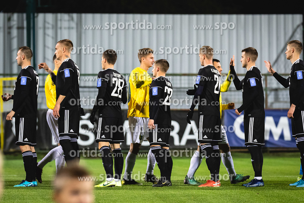 Players shaking hands before football match between NŠ Mura and NK Bravo in 20th Round of Prva liga Telekom Slovenije 2019/20, on December 5, 2019 in Fazanerija, Murska Sobota, Slovenia. Photo by Blaž Weindorfer / Sportida