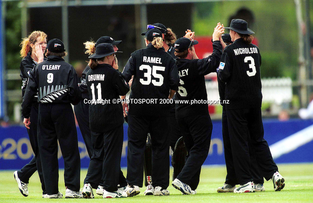 White Ferns Womens Cricket team celebrate winning the Womens Cricket World Cup 2000 played at Bert Sutcliffe Oval, Lincoln, New Zealand 23 December 2000. NZ women won by 4 runs. Photo: Sandra Teddy/Photosport.co.nz