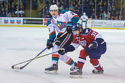 KELOWNA, CANADA - MARCH 22:  Cal Foote #25 of the Kelowna Rockets, Parker AuCoin #32 of the Tri-City Americans at the Kelowna Rockets game on March 22, 2018 at Prospera Place in Kelowna, British Columbia, Canada.  (Photo By Cindy Rogers/Nyasa Photography,  *** Local Caption ***
