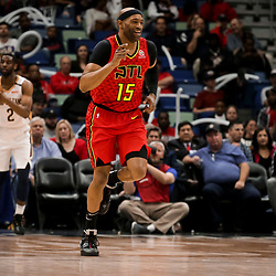 Mar 26, 2019; New Orleans, LA, USA; Atlanta Hawks forward Vince Carter (15) reacts after a score against the New Orleans Pelicans during the second half at the Smoothie King Center. Mandatory Credit: Derick E. Hingle-USA TODAY Sports