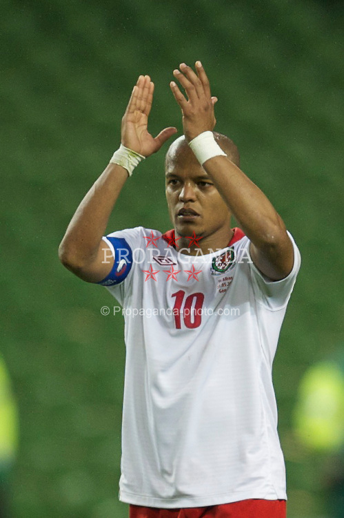 DUBLIN, REPUBLIC OF IRELAND - Wednesday, May 25, 2011: Wales' captain and goal-scorer Robert Earnshaw applauds the travelling supporters after his side's 3-1 defeat to Scotland during the Carling Nations Cup match at the Aviva Stadium (Lansdowne Road). (Photo by David Rawcliffe/Propaganda)