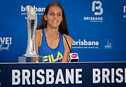 Karolina Pliskova of the Czech Republic talks to the media after winning the 2020 Brisbane International WTA Premier tennis tournament - Photo Rob Prange / Spain ProSportsImages / DPPI / ProSportsImages / DPPI