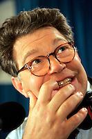 02 Nov 2004, Cambridge, Massachusetts, USA --- Al Franken recording his radio show on Election Day 2004. --- Image by © Owen Franken/Corbis