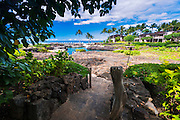 Path to the swimming lagoon at the Four Seasons Hualalai, Kohala Coast, Hawaii USA