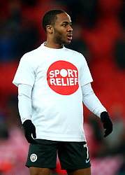 Raheem Sterling of Manchester City wears a Sport Relief top during the warm up at Stoke City - Mandatory by-line: Robbie Stephenson/JMP - 12/03/2018 - FOOTBALL - Bet365 Stadium - Stoke-on-Trent, England - Stoke City v Manchester City - Premier League