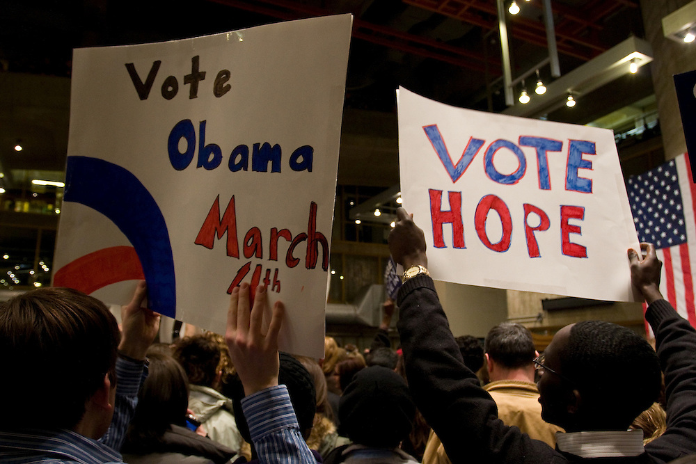Barack Obama supporters at a rally in Warwick, Rhode Island, February 20, 2008..