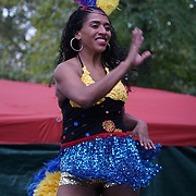 London, UK. 8th October, 2016. Talentogroup Arts of Columbia preforms at The Tottenham Green Multicultural Festival,London,UK. Photo by See Li