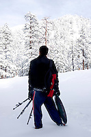 Adventure Photographer Enjoying Fresh Snow on Mount Baldy, Angeles National Forest, California