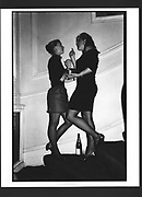 Carolyn Wroughton and Shona McKinney at Jo Farrell's 30th birthday party. Polish Club. London. 1988. Film 88364f6