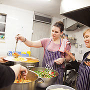 North London Action for the Homeless cookes up a three course meal for a hundred homeless men and women in Stoke Newington, London. Every Monday luch time and Wednesday evening the charity serves up a hundred meals as well as a couple of hours of respite from the streets which in November are getting very cold and wet. All the food is donated and sourced locally and most of the staff are volunteers and have been with the charity for years.