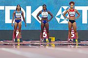 English Gardner (USA), Dina Asher-Smith (Great Britain), Salome Kora (Switzerland), 100 Metres Women, Round 1 Heat 4, during the 2019 IAAF World Athletics Championships at Khalifa International Stadium, Doha, Qatar on 28 September 2019.