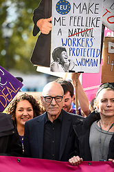 © Licensed to London News Pictures. 19/10/2019. LONDON, UK.  Actor Sir Patrick Stewart takes part in the People's Vote March to demand a final say on Brexit.  Protesters carry banners and signs and are marching from Park Lane to a rally in Parliament Square.  Photo credit: Stephen Chung/LNP