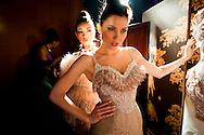 Female models before a runway show in Lebanon.
