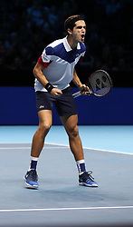 Pierre-Hugues Herbert celebrates winning his doubles match against Horia Tecau and Jean-Julien Rojur during day one of the NITTO ATP World Tour Finals at the O2 Arena, London.