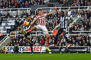 Stoke City Defender Philipp Wollscheid header goes wide  during the Barclays Premier League match between Newcastle United and Stoke City at St. James's Park, Newcastle, England on 31 October 2015. Photo by Craig McAllister.
