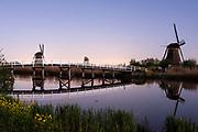 Alblasserwaard polder, Kinderdijk. 18e eeuwse waterpomp molens bij Kinderdijk. Unesco Wereld erfgoed.
