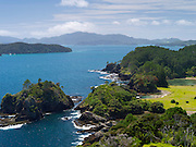 Looking NE from atop Motuarohia Island. Bay of Islands, Northland, New Zealand.