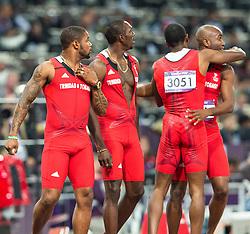 11.08.2012, Olympia Stadion, London, GBR, Olympia 2012, 4 x 100m Staffel, Herren, Finale, im Bild Team Trinidad und Tobago, Keston Bledman (TRI), Marc Burns (TRI), Emmanuel Callender (TRI), Richard Thompson (TRI) // Team Trinidad and Tobago, Keston Bledman (TRI), Marc Burns (TRI), Emmanuel Callender (TRI), Richard Thompson (TRI)  Men's 4 x 100m Relay Final at the 2012 Summer Olympics at Olympic Stadium, London, United Kingdom on 2012/08/11. EXPA Pictures © 2012, PhotoCredit: EXPA/ Johann Groder#