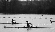 Caversham. Berkshire. UK<br /> Women's Single Scull Semi final A/B1, left, Emily CARMICHAEL and Melissa WILSON at the 1400m. <br /> 2016 GBRowing U23 Trials at the GBRowing Training base near Reading, Berkshire.<br /> <br /> Tuesday  12/04/2016<br /> <br /> [Mandatory Credit; Peter SPURRIER/Intersport-images]