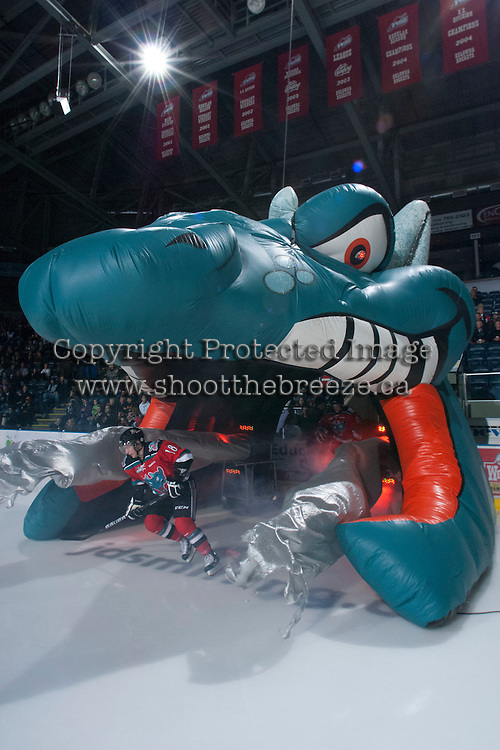 KELOWNA, CANADA - NOVEMBER 1:  Cody Fowlie #18 of the Kelowna Rockets enters the ice against the Kamloops Blazers at the Kelowna Rockets on November 1, 2012 at Prospera Place in Kelowna, British Columbia, Canada (Photo by Marissa Baecker/Shoot the Breeze) *** Local Caption ***