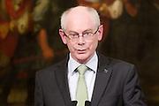 2013/05/31 Roma, conferenza stampa del premier e del Presidente del Consiglio Europeo. Nella foto Herman Van Rompuy.<br /> Rome, Prime Minister and President of European Council press conference. In the picture Herman Van Rompuy - &copy; PIERPAOLO SCAVUZZO