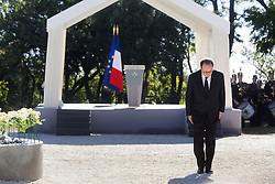 French President Francois Hollande attends the ceremony during the National Ceremony for the 86 victims of Nice terror attack on last 14th July 2016 at the Colline du Château in Nice, southern France, on october 15, 2016. Ministers and politicians in front of about 2000 people including the victims families and rescue forces participated ceremony. Photo by Ian Hanning/Pool/ABACAPRESS.COM