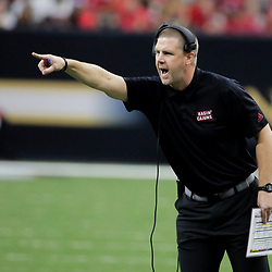 Aug 31, 2019; New Orleans, LA, USA; Louisiana-Lafayette Ragin Cajuns head coach Bill Napier argues a play on the field during the first half against the Mississippi State Bulldogs at the Mercedes-Benz Stadium. Mandatory Credit: Derick E. Hingle-USA TODAY Sports