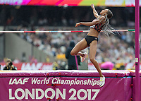 Athletics - 2017 IAAF London World Athletics Championships - Day Two (AM Session)<br /> <br /> Event: High Jump Women - Heptathlon<br /> <br /> Nafissatou Thiam (BEL) leaps towards the bar in an attempt to clear  <br /> <br /> COLORSPORT/DANIEL BEARHAM