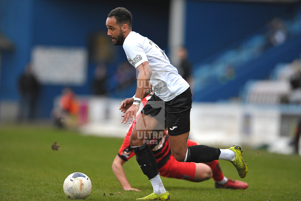 TELFORD COPYRIGHT MIKE SHERIDAN Brendon Daniels of Telford skips past an opponent during the Vanarama Conference North fixture between AFC Telford United and Darlington at The New Bucks Head on Saturday, March 7, 2020.<br /> <br /> Picture credit: Mike Sheridan/Ultrapress<br /> <br /> MS201920-049