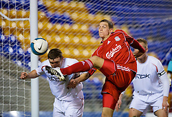 WARRINGTON, ENGLAND - Saturday, March 1, 2008: Liverpool's Daniel Agger in action against Bolton Wanderers during the FA Premiership Reserves League (Northern Division) match at the Halliwell Jones Stadium. (Photo by David Rawcliffe/Propaganda)