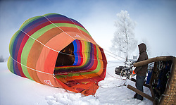 11.02.2015, Zell am See - Kaprun, AUT, BalloonAlps, im Bild Startvorbereitung, der Ballon wird beheizt // BalloonAlps, The Alps Crossing Event balloonalps is Austria's international Winter balloon week in front of the backdrop of the Hohe Tauern, Zell am See Kaprun on 2015/02/11, . EXPA Pictures © 2014, PhotoCredit: EXPA/ JFK