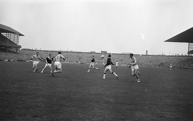 Galway player hits the ball into the air during All Ireland Senior Gaelic Football Championship Final Dublin V Galway at Croke Park on the 22nd September 1963. Dublin 1-9 Galway 0-10.
