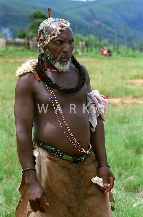 Hhohho region of Swaziland, man in traditional dress