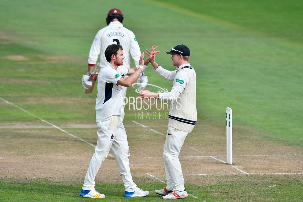 Wicket - James Harris of Middlesex celebrates taking the wicket of Marcus Trescothick of Somerset during the Specsavers County Champ Div 1 match between Somerset County Cricket Club and Middlesex County Cricket Club at the Cooper Associates County Ground, Taunton, United Kingdom on 26 September 2017. Photo by Graham Hunt.