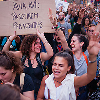 Tuesday, 03 October 2017. Barcelona, Catalonia.  Catalan referendum. People gathered in Barcelona. Students protest in Via Laietana street.<br /> As a reaction for the brutality of the spanish police and to support the results of referendum a general strike was decalred on Tuesday 3rd of October 2017.