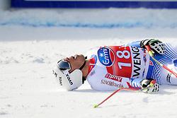19.01.2013, Lauberhornabfahrt, Wengen, SUI, FIS Weltcup Ski Alpin, Abfahrt, Herren, im Bild Johan Clarey (FRA) im Ziel // reacts after his run of mens downhillrace of FIS Ski Alpine World Cup at the Lauberhorn downhill course, Wengen, Switzerland on 2013/01/19. EXPA Pictures © 2013, PhotoCredit: EXPA/ Freshfocus/ Urs Lindt..***** ATTENTION - for AUT, SLO, CRO, SRB, BIH only *****