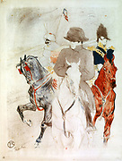 Napoleon I' , Lithograph by Henri de Toulouse-Lautrec (1864-1901) French artist. Post-Impressionis, Art Nouveau.  Napoleon on white horse, followed by French officer on a chestnut and turbaned figure on a grey.