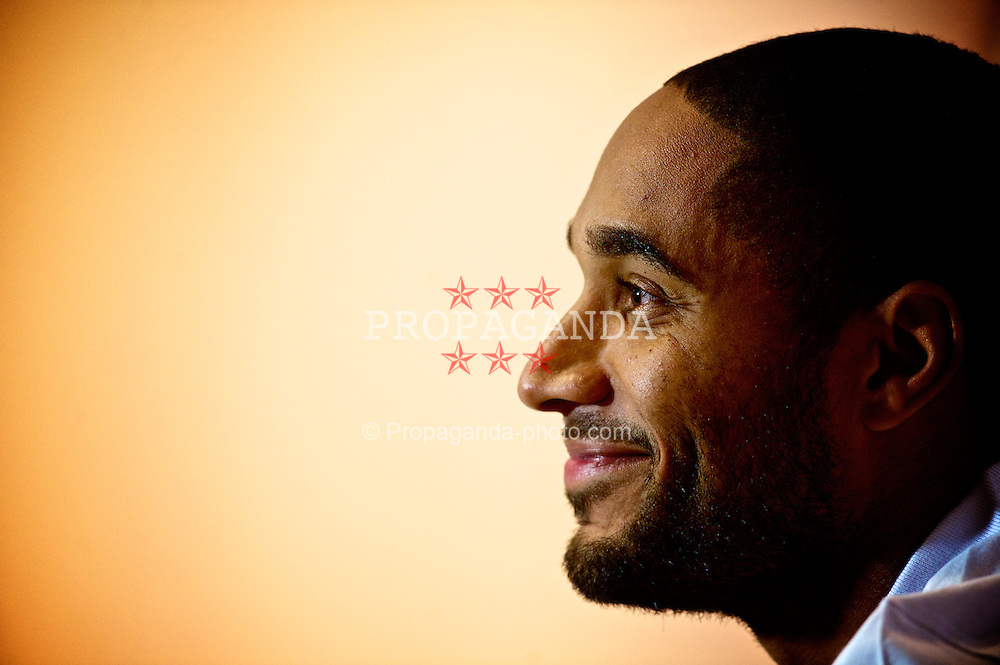 CARDIFF, WALES - Thursday, October 11, 2012: Wales' captain Ashley Williams during a press conference at the St. David's Hotel ahead of the Brazil 2014 FIFA World Cup Qualifying Group A match against Scotland. (Pic by David Rawcliffe/Propaganda)