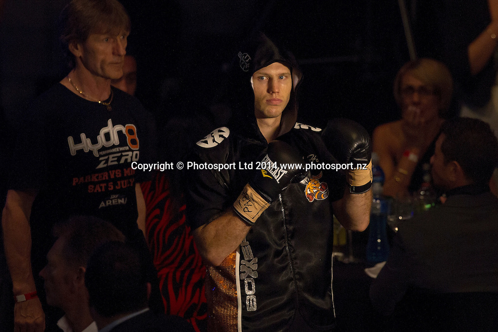 Australian Jeff (The Hornet) Horn enters the ring to fight Brazilian Fernando Ferreira da Silva at the Hydr8 Zero Heavyweight Explosion, Vodafone Events Centre, Auckland, New Zealand, Saturday, July 05, 2014. Photo: David Rowland/Photosport