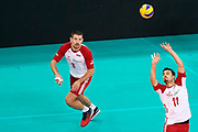 Poland, Warsaw - 2017 August 24: (R) Fabian Drzyzga passes the ball to (L) Dawid Konarski both from Poland  during LOTTO EUROVOLLEY POLAND 2017 - European Championships in volleyball at Stadion PGE Narodowy on August 24, 2017 in Warsaw, Poland.<br /> <br /> Mandatory credit:<br /> Photo by &copy; Adam Nurkiewicz<br /> <br /> Adam Nurkiewicz declares that he has no rights to the image of people at the photographs of his authorship.<br /> <br /> Picture also available in RAW (NEF) or TIFF format on special request.<br /> <br /> Any editorial, commercial or promotional use requires written permission from the author of image.