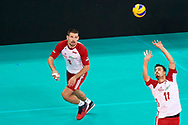 Poland, Warsaw - 2017 August 24: (R) Fabian Drzyzga passes the ball to (L) Dawid Konarski both from Poland  during LOTTO EUROVOLLEY POLAND 2017 - European Championships in volleyball at Stadion PGE Narodowy on August 24, 2017 in Warsaw, Poland.<br /> <br /> Mandatory credit:<br /> Photo by © Adam Nurkiewicz<br /> <br /> Adam Nurkiewicz declares that he has no rights to the image of people at the photographs of his authorship.<br /> <br /> Picture also available in RAW (NEF) or TIFF format on special request.<br /> <br /> Any editorial, commercial or promotional use requires written permission from the author of image.