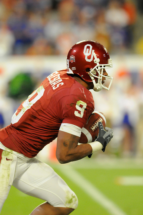 January 8, 2009: Juaquin Iglesias of the Oklahoma Sooners in action during the NCAA football game between the Florida Gators and the Oklahoma Sooners in the 2009 BCS National Championship Game. The Gators defeated the Sooners 24-14.