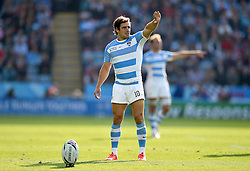 Nicolas Sanchez of Argentina shields his eyes from the sun as he attempts a conversion - Mandatory byline: Patrick Khachfe/JMP - 07966 386802 - 04/10/2015 - RUGBY UNION - Leicester City Stadium - Leicester, England - Argentina v Tonga - Rugby World Cup 2015 Pool C.