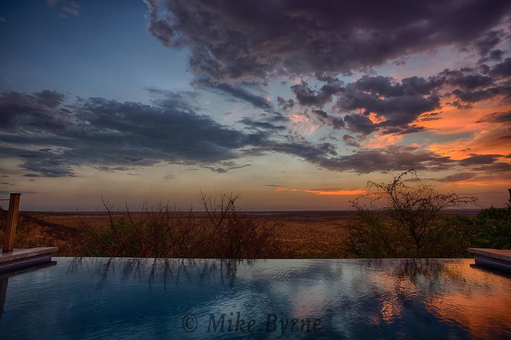 Sunset at Dolomite Camp, in Etosha National Park, Namibia.