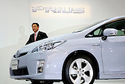 Akio Toyoda, Executive Vice President of Toyota Motor Corp., alights from the third generation Prius hybrid car, which was unveiled at the automaker's showroom in Tokyo, Japan on 18 May 2009.