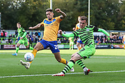 Forest Green Rovers Elliott Frear(17) crosses the ball during the EFL Sky Bet League 2 match between Forest Green Rovers and Mansfield Town at the New Lawn, Forest Green, United Kingdom on 19 October 2019.