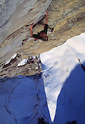 "The late, great alpinist, Alex Lowe & Conrad Anker climbing a first ascent on ""The Bird"" in the Ak-Su, Pamirs, Kyrgyzstan"