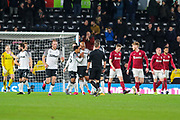 Celebrations as Derby County defender Andre Wisdom scores the opening goal during the The FA Cup match between Derby County and Northampton Town at the Pride Park, Derby, England on 4 February 2020.